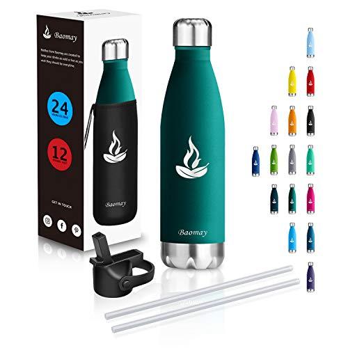 Baomay Botella Agua Acero Inoxidable Termo con Pajita 350ml - Doble Aislamiento Frascos Termica para Niños, Bici Deporte, Gimnasio, Oficina | Reutilizable Botella Térmicos Frio Sin BPA (Verde Oscuro)
