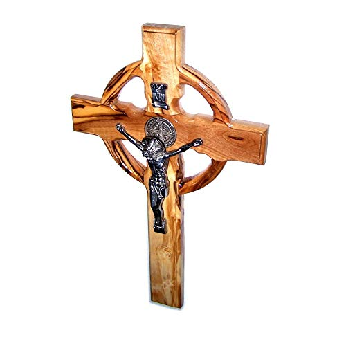 Holy Land Market Celtic and Saint Benedict Medal Handmade Wall Wood Cross Crucifix (10 Inches)