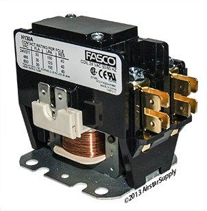 H130A Fasco Replaces Carrier HN51CB025 / HN51KC024 / HN51KB024-30 Amp 1 Pole 24v Coil Contactor