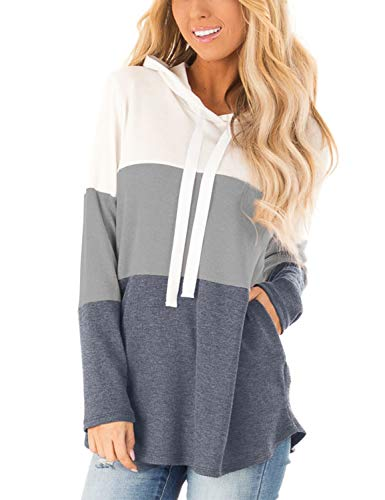 Blooming Jelly Womens Striped Hoodies Color Block Long Sleeve Tunic Sweatshirt Drawstring Jumper Tops with Pockets M Grey