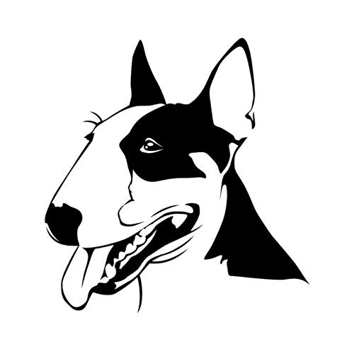 SIENJIA Pegatinas de coche 15,8X16,5 CM lindo Bull Terrier perro mascotas animales vinilo calcomanía coche pegatina negro / plata