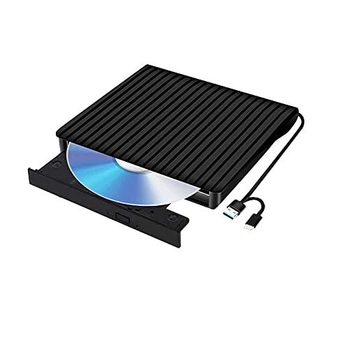 Reproductor de CD y DVD externo USB 3.0 y tipo C portátil, reproductor de CD/DVD para ordenador portátil, lector de CD, grabadora,...