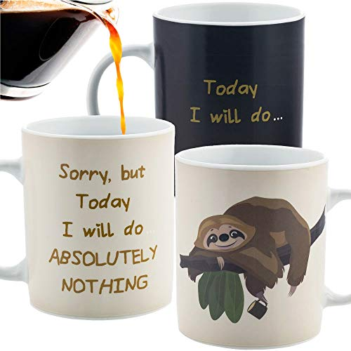 InGwest. Sloth Lazy Funny Coffee Mug. Lazy Mug. Changing Color Coffee Mug. Heat Sensitive Mug