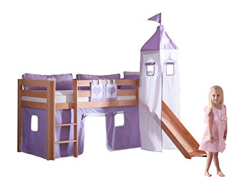 Relita BH1011114+TX5012038+TX5032027-M1 Halbhohes Spielbett Alex mit Rutsche/Turm, Maße 210 x 113 x 220 cm, Liegefläche 90 x 200 cm, Buche massiv Natur lackiert, Stoffset Purple/weiß
