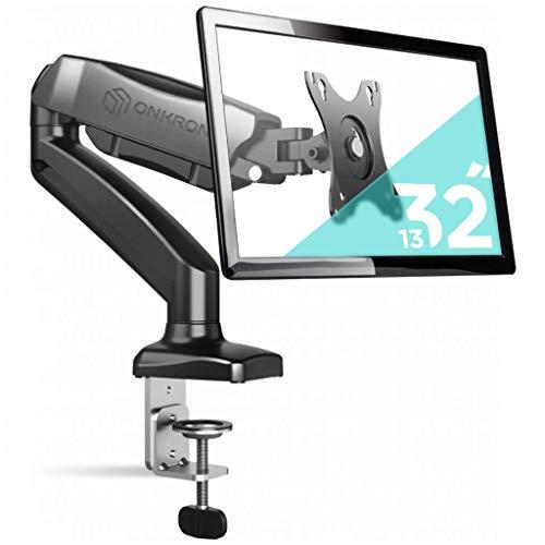"""ONKRON Monitor Tischhalterung 13\""""-32\"""" Zoll für die meisten Monitore Gaslift VESA 75x75 / 100x100 mm höhenverstellbar schwenkbar neigbar G80 Schwarz"""