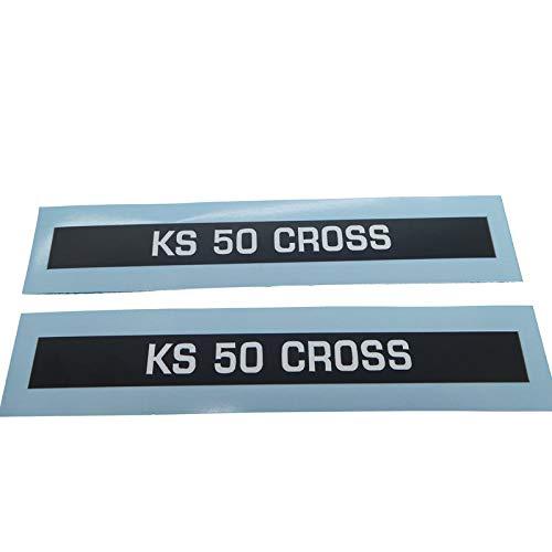 Zündapp KS 50 Cross Schriftzug Seitenverkleidung Aufkleber, Ersatzteil Sticker Verkleidungs Schriftzug Dekor. Zum Oldtimer Restaurieren von Lack und Verkleidung. Alternativ zum Motorrad Emblem