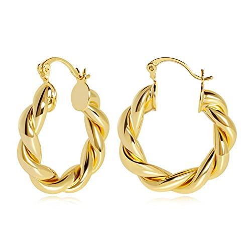 Ulapithi aretes para Damas círculo, aretes de aro de Oro Aros Ligeros retorcidos para Mujeres