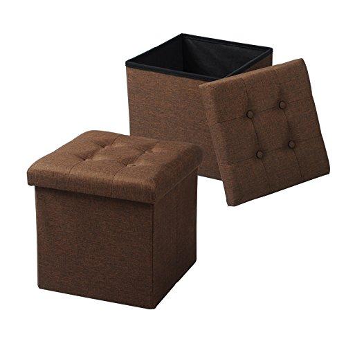 WOLTU SH06br-2 2er Set Sitzhocker mit Stauraum Sitzwürfel Sitzbank Faltbar Truhen Aufbewahrungsbox, Deckel Abnehmbar, Gepolsterte Sitzfläche aus Leinen, 37,5x37,5x38CM(LxBxH), Braun