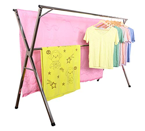 EXILOT Clothes Drying Rack, 1.5M 59 inch Stainless Steel Laundry Drying Rack, Free of Installation Foldable Easy Storage Garment Rack for Indoor Outdoor,Comes with 20pcs Windproof Hooks.