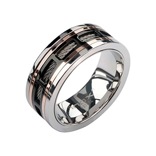 INOX Jewelry Stainless Steel Rose Gold Window Spinner Ring (Black, Size 11)