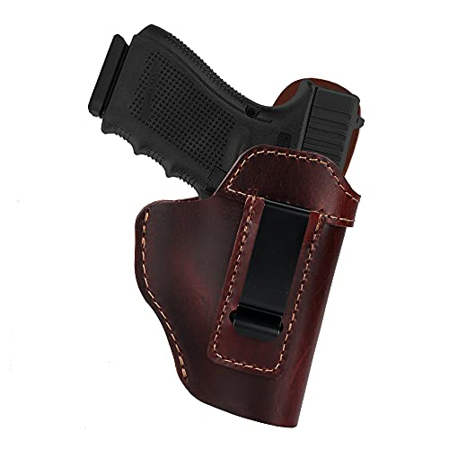 IWB Leather Holster for Glock 19/26/42/43X Ruger LC9S/Security 9/Max 9, Sig P365/P320/P220, Taurus G2C/G3C/GX4 Springfield XD/XDS/Hellcat, SCCY CPX CZ HK Walther Genuine Leather Gun Holster