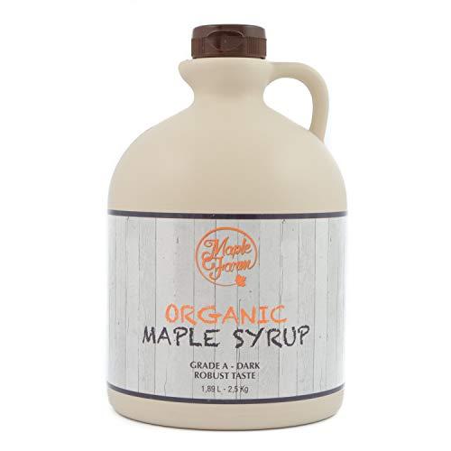 MapleFarm - Biologische ahornsiroop - ORGANIC maple syrup DARK - 1,89 litre - Grade A - Canadian maple syrup - pancake syrup - GLUTEN FREE - VEGAN