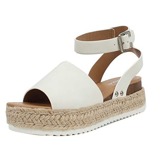 SODA Women's Open Toe Halter Ankle Strap Espadrille Sandal (7 M US, White)
