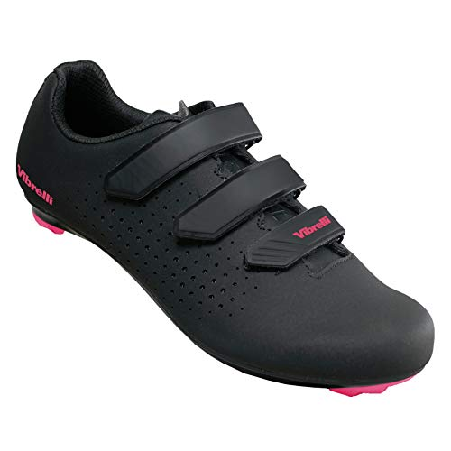 Vibrelli Womens Peloton Cycling Shoes - Indoor Spin Exercise Road Bike Shoes - Compatible with All Cleats - Look Delta, Shimano SPD, ARC - Ladies Cycle Shoes Black/Pink