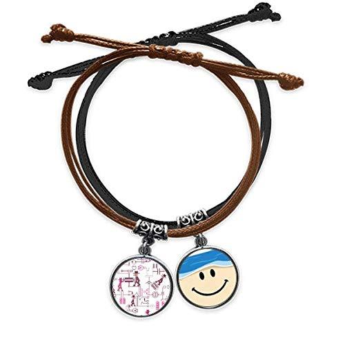Bestchong Schaltplan Steckdose Stecker Muster Armband Seil Hand Kette Leder lächelndes Gesicht Armband