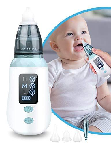 Nasensauger Baby Elektrisch, Tragbar Nasensaug Baby Staubsaug USB Aufladen Silikon Nasensekretsauger mit 3 Saugstärken und 3 Größen Silikon Tipps