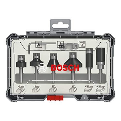 Bosch Professional 2607017468 Juego de 6 fresas para perfilar y recortar (para madera, para fresadoras con vástago de 6 mm), Color
