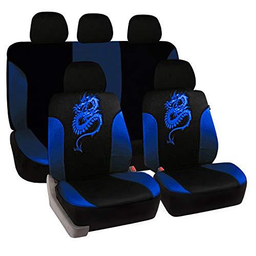 eSituro universal Auto Schonbezug Komplettset Sitzbezüge für Auto mit Drache Muster schwarz/blau SCSC0029