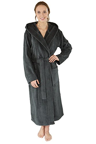 WeWo fashion Unisex Kapuzen-Bademantel 3006 anthrazit, XL