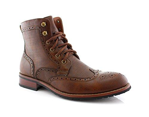 Polar Fox Men's MPX808573 Larry Wingtip Dress Boots, Brown