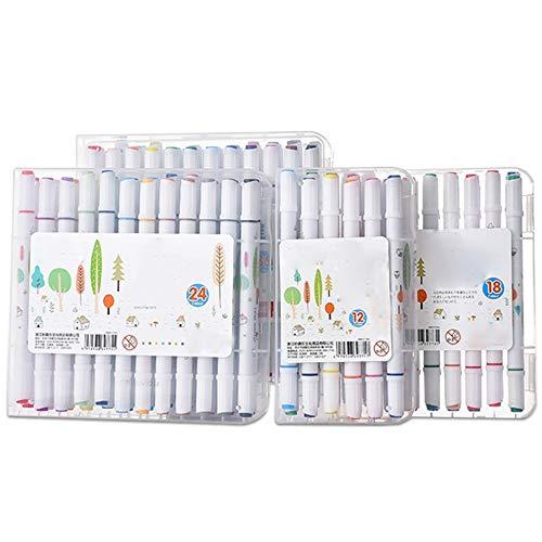 HXiaDyG Marcadores La Cabeza del Doble de Gran Capacidad Grasa rotulador 12/18/24/36 Colores rotulador de Color Cepillo de la Acuarela Plumas para Dibujar Dibujar Colorear (Color : White, Size : 36)