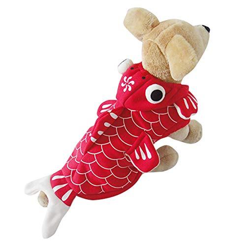 HONGBI Ropa para Mascotas Disfraz de Halloween 3D Traje de Perro En Forma de Pez de Colores Abrigo de Invierno Cálido con Capucha Pez Dorado Cosplay Ropa de Perro y Gato Rojo L