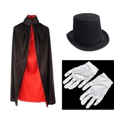 マジック 衣装セット (シルクハット、リバーシブルマント、手袋) コスチューム 男女共用