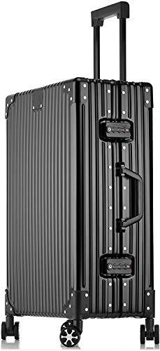 STYLISHJAPAN スーツケース オール アルミ合金 フレーム ボティ 軽量 耐衝撃 ビジネス 出張 (5色 2サイズ対応) (Sサイズ 40L 2泊?4泊 ブラック)