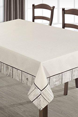 DecoKing beige zwart houtlook tafelkleed tafelkleed praktisch onderhoudsvriendelijk linnenlook Scandi
