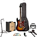 GoDpsMusic 6 String Sawtooth ES Series Electric Guitar Players Pack, With 25 watt Amp Case, Tuner Picks, Cable, Stand & Strap, Sunburst, Right (ST SBT-Play)