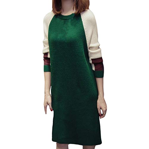 Kobay Damen Herbst Winter Langarm Rock Lässig Mode Kleider Bequem Frauen-Herbst-Mode-Koreanisches Loses Kleid gestrickte Langarm-Pullover-Kleider(Grün, XL)
