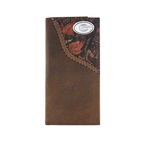 NCAA Georgia Bulldogs Camouflage Leather Roper Concho Wallet, One Size