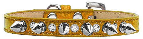 Mirage Pet Products Crystal and Silver Spikes Dog Collar, Size 12, Gold Ice Cream