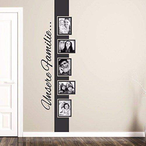 tjapalo® S-pkm168 Wandtatto mit Bilderrahmen Banner Wandtattoo wohnzimmer modern mit Fotos Fotorahmen Wandsticker Familie (Höhe130cm f. Fotos mit10x15cm)