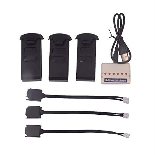 YouCute 3PCS 1000mAh Batterie e Caricabatterie per UDI U818A Plus U49W U49C AA818 Rc Drone Ricambi (Batterie 3PCS + Caricabatterie)