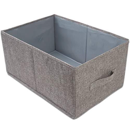 Aufbewahrungsbox , Faltbare Aufbewahrungskorb mit Griffen , Faltbox aus Stoff, Ordnungsbox ohne Deckel, Aufbewahrung Spielzeug, Kleidung, Wäschekorb Grau