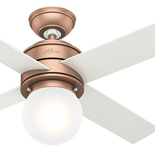 Hunter Fan 44 inch Contemporary Satin Copper Indoor Ceiling Fan with Light Kit and Remote Control (Renewed) Ceiling Fans