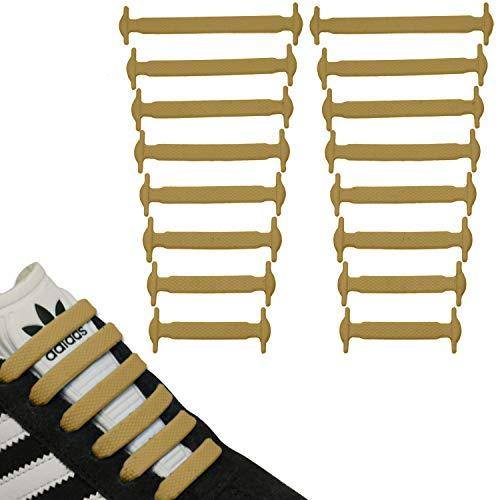 JANIRO Elastische Silikon Schnürsenkel flach | Flexible schleifenlose Schuhbänder ohne Binden | Kinder & Erwachsene (Beige)