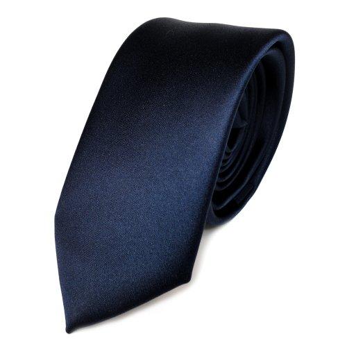 TigerTie schmale Satin Krawatte in blau marine dunkelblau einfarbig uni