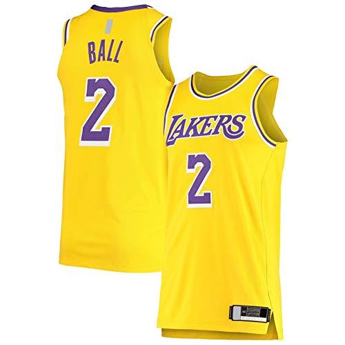 YUEJI Oro - Jugador Jersey Ball Custom Los Top Sin Mangas Angeles Baloncesto Jersey Lakers Bordado #2 Los Iconos EditionLonzo Icono Edition-L