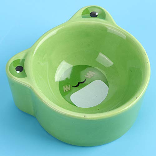 Nannday 【𝐂𝐡𝐫𝐢𝐬𝐭𝐦𝐚𝐬 𝐆𝐢𝐟𝐭】 Small Size Pet Food Bowl, Pet Bowl, Ceramic Bowl Cartoon Animal Shape for Hamsters Pigeons Mice Gerbils(Frog)