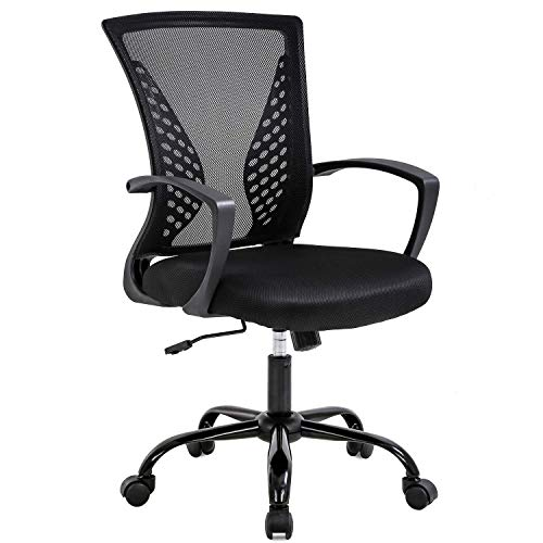 Mesh Office Chair with Lumbar Support Ergonomic Executive Gaming Desk Chair Adjustable Stool Rolling Swivel Rocking Mid Back Computer Task Chair for Adults,Black