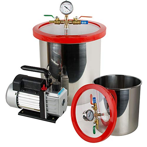 Enshey 5 Gallon Vacuum Chamber - Stainless Steel Vacuum Degassing Chamber Silicone Kit w/3 CFM Pump Hose (Shipping from USA)