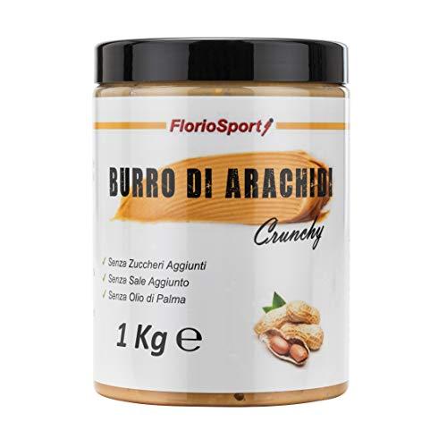 FlorioSport, Burro di Arachidi Crunchy, 1000 g Burro di Arachidi Ricco di Pezzi di Arachidi - Croccante e 100% Naturale - Peanut Butter - Adatto per Vegetariani - Senza Zuccheri e Sale Aggiunto.