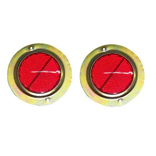 Bajato : 2 x rouge avec catadioptre rond blanc verni pour camions, bus 15000401 remorque de voiture