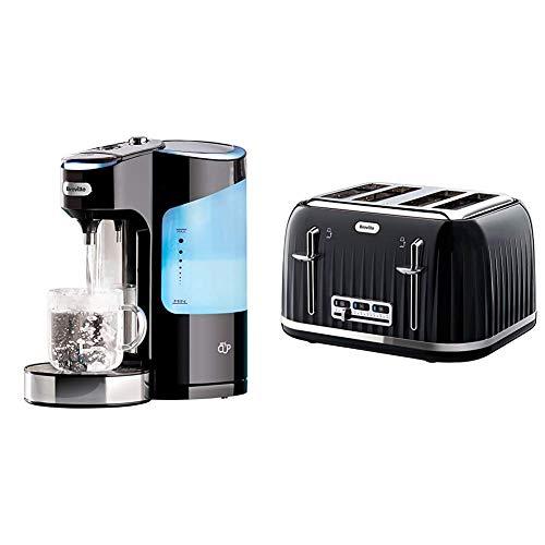 Breville HotCup Hot Water Dispenser with Variable Dispense, 2.0 Litre, Gloss Black & VTT476 Impressions 4 Slice Toaster - Black