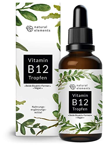 Natural Elements | Vitamine B12 | Druppels | 1000µg | 50 ml | Actieve vitamine B12 | Vegan