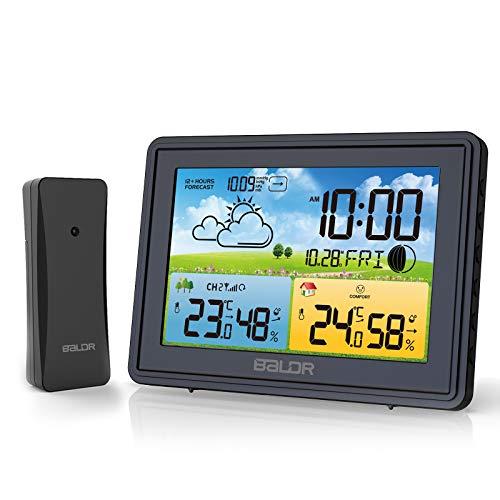 BALDR Wetterstation Funk mit Außensensor, Innen Außenthermometer Hygrometer, Digitaler Temperatur Feuchtigkeitsmonitor mit Wettervorhersage, Alarm & Schlummerfunktion, Komfortsymbole (Schwarz)