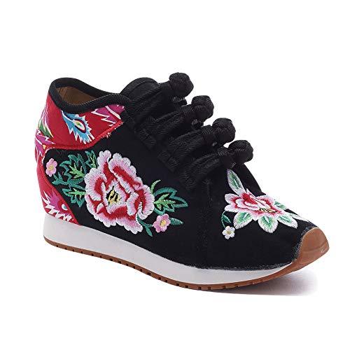Gtagain Zapatos de Cuña Mujeres - Damas Chino Estilo Bordado Lona Zapato Informal Caminar Viajes Fiesta Aire Libre Zapatillas de Deporte Cómodo