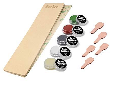 """BACHER Premium Leder Streichriemen DIY Schärf-Zubehör-Set. 1/8"""" dickes, rindengegerbtes Rindleder (206mm x 56mm), 3M Klebeband, 4 x 7g Honcompounds Kit."""